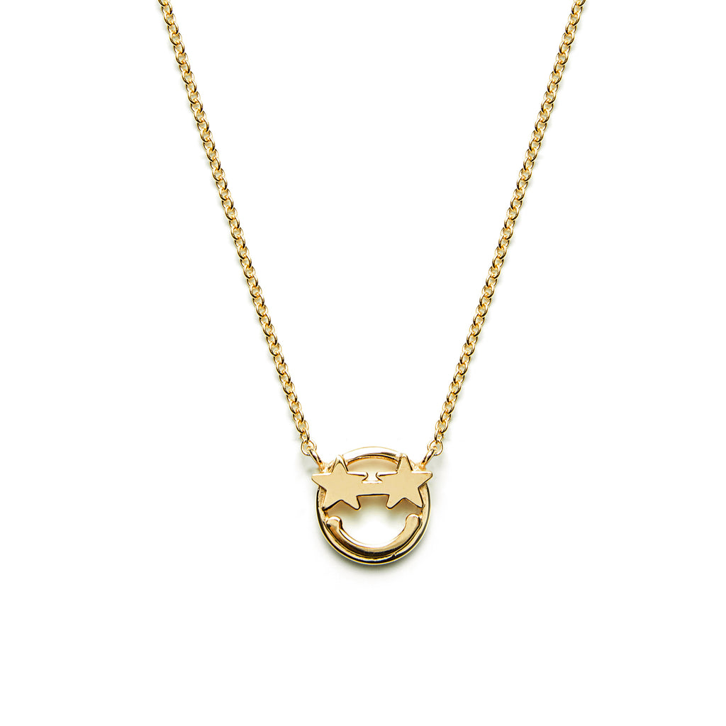 14k gold emoji star Eyes Necklace - LODAGOLD
