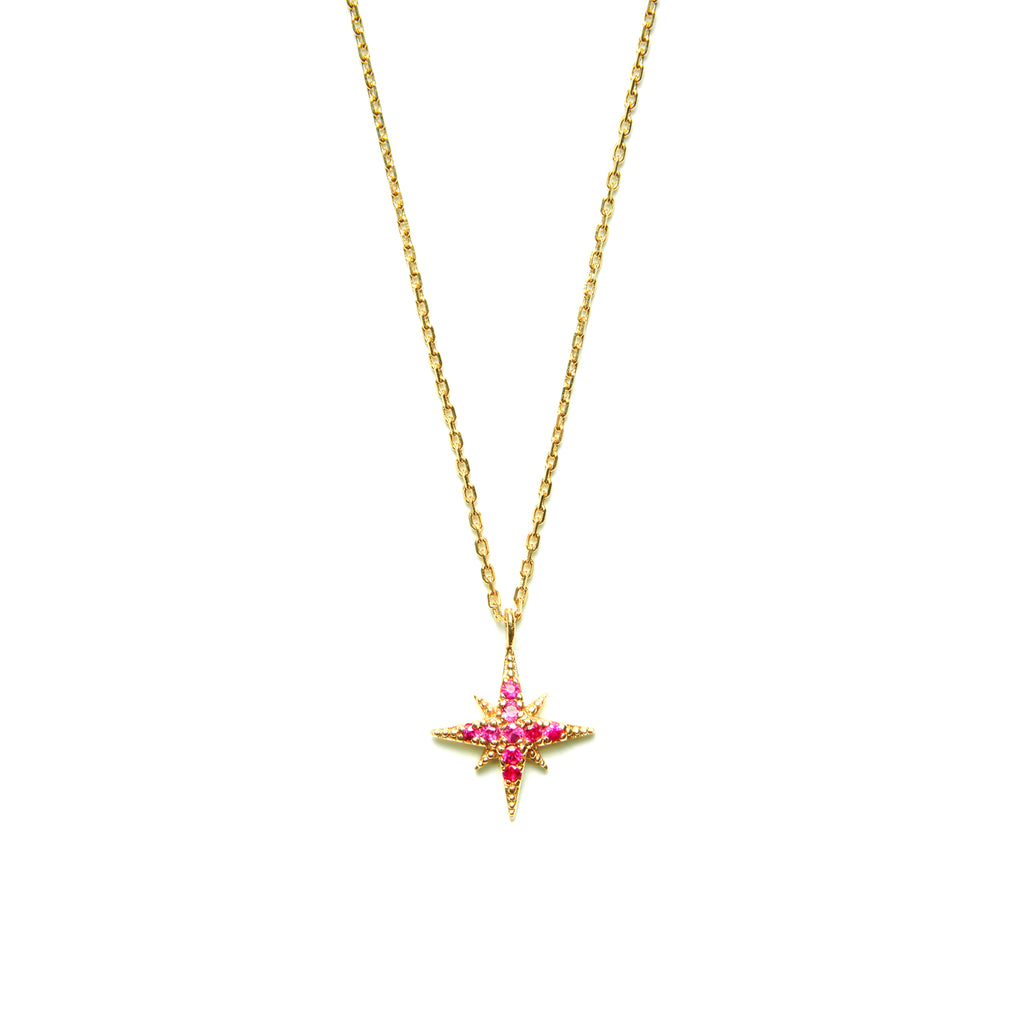 14k gold rubies starburst Necklace - LODAGOLD