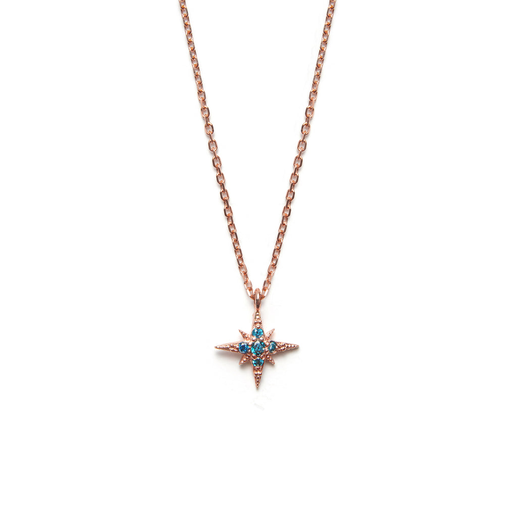 14k gold blue diamond Starburst Necklace - LODAGOLD
