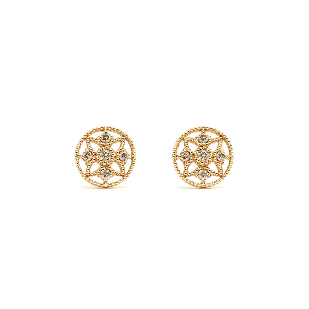 14k gold cognac diamond Earrings - LODAGOLD