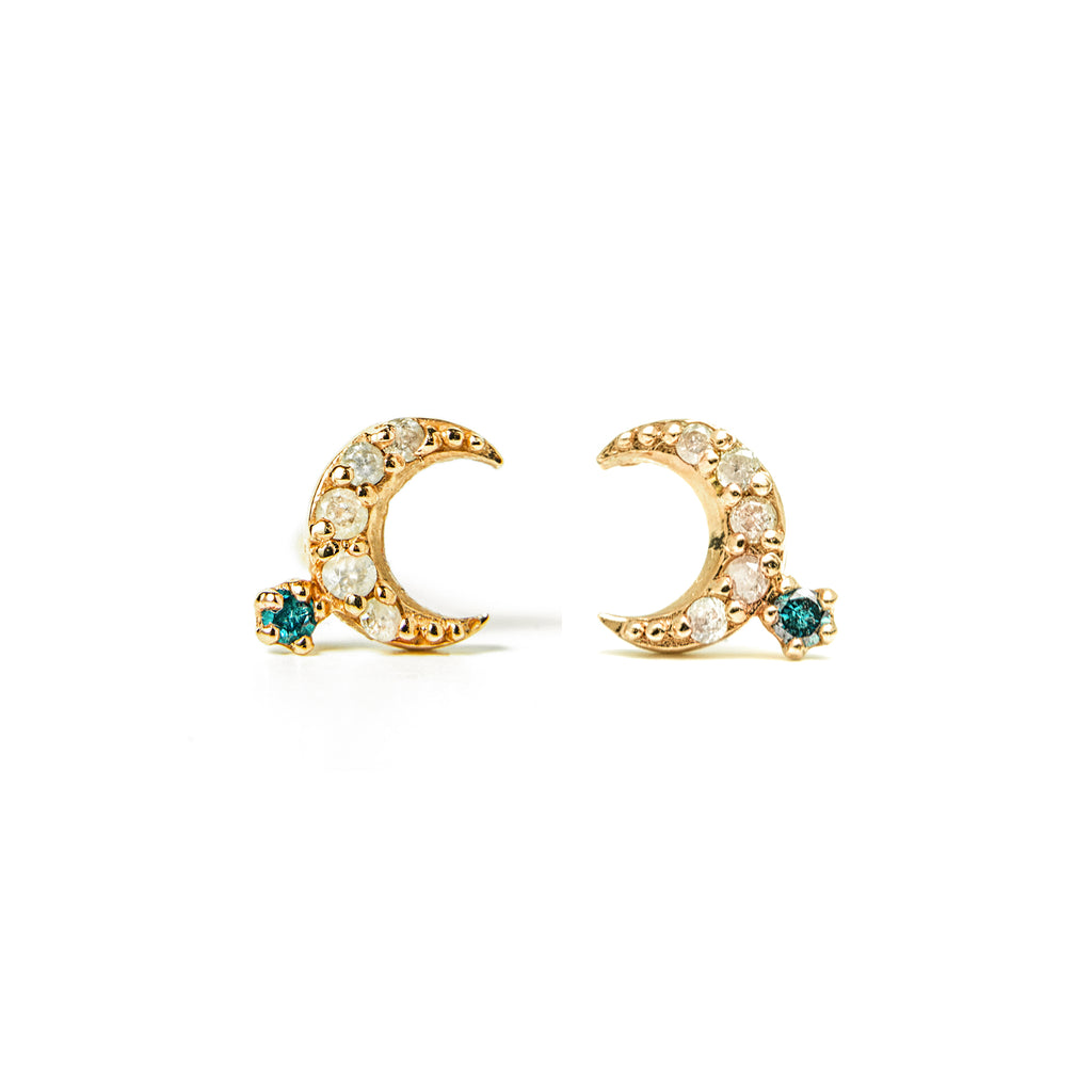14k gold moon blue&grey diamond stud earrings - LODAGOLD