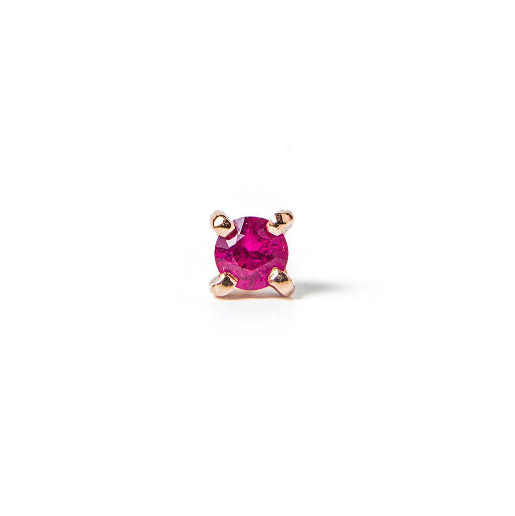 14k gold ruby stud single Earring - LODAGOLD