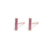 14k gold Ruby Bar stud earrings - LODAGOLD