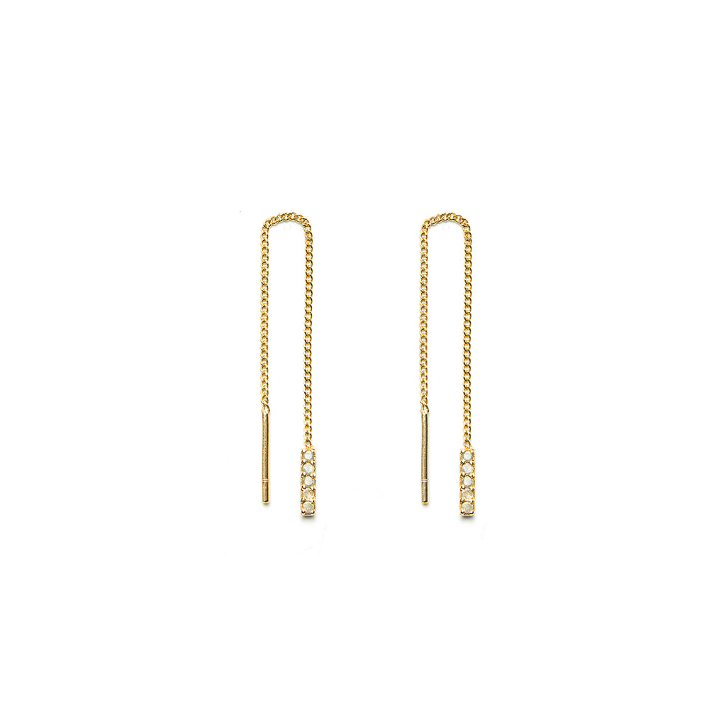 14k gold grey diamond drop earrings - LODAGOLD