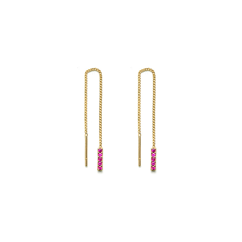 14k gold ruby drop earrings - LODAGOLD