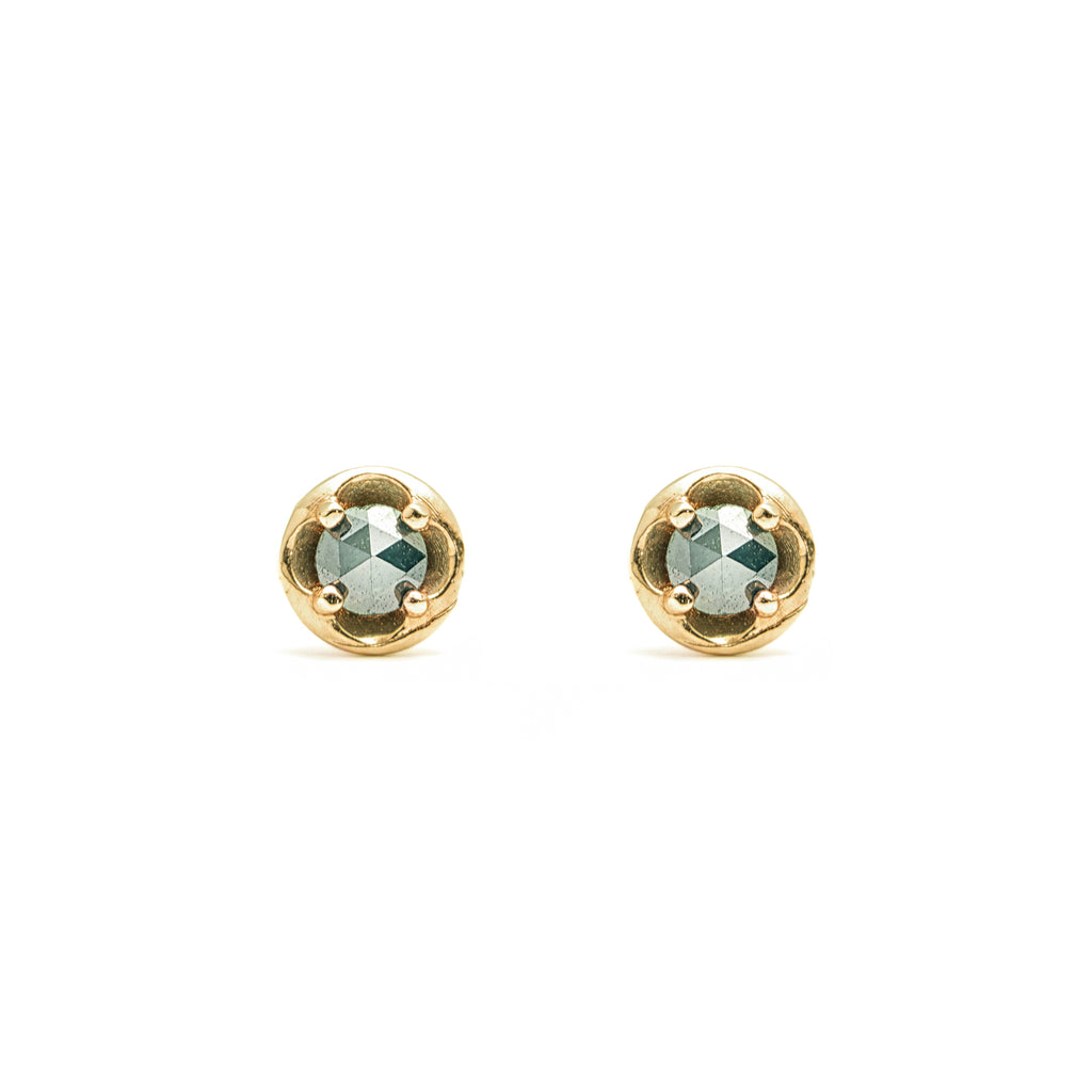 14k gold blue ruf diamond round Earrings - LODAGOLD