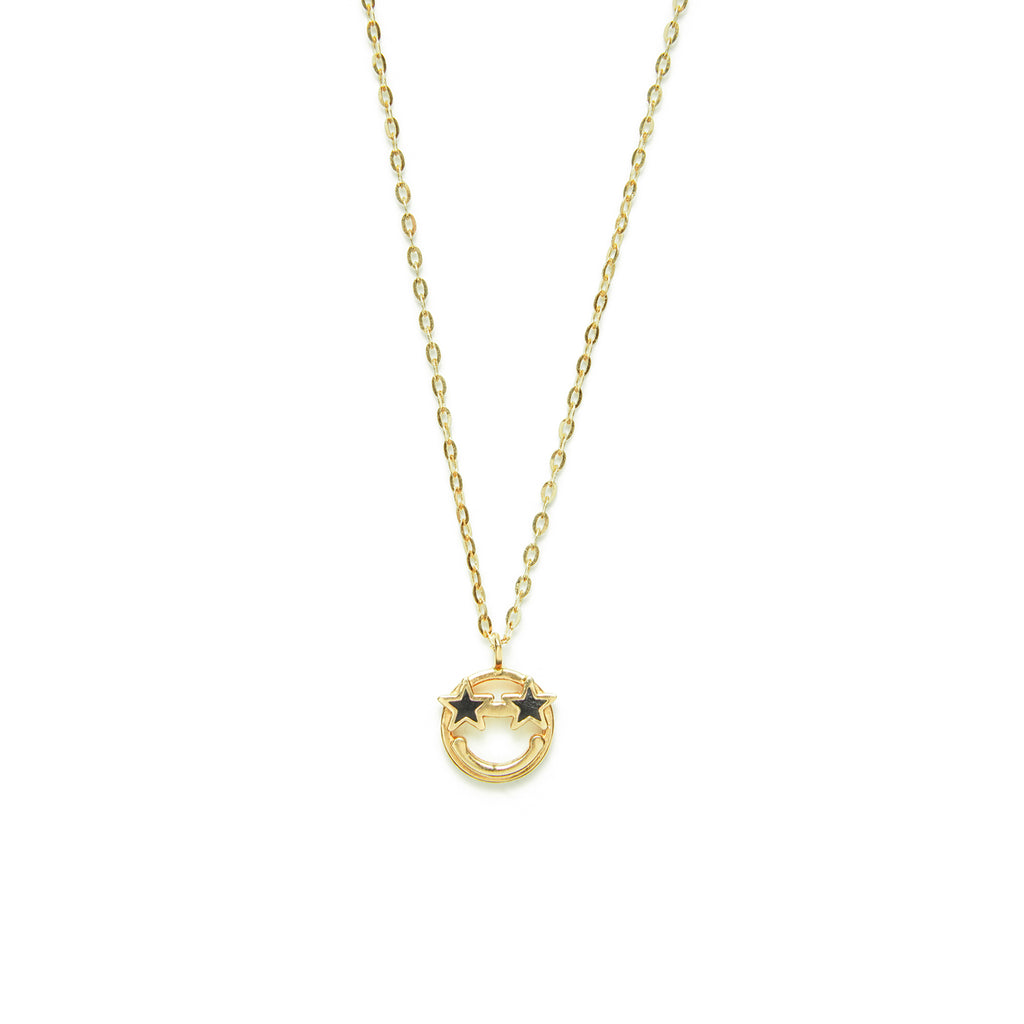 14k gold Black star Emoji Necklace - LODAGOLD