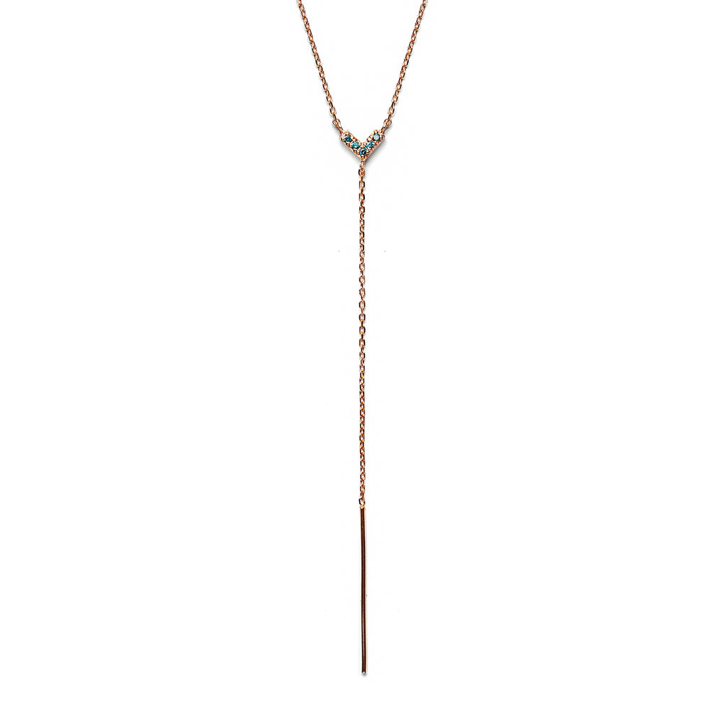 14k gold Blue dia heart Lariat Necklace - LODAGOLD