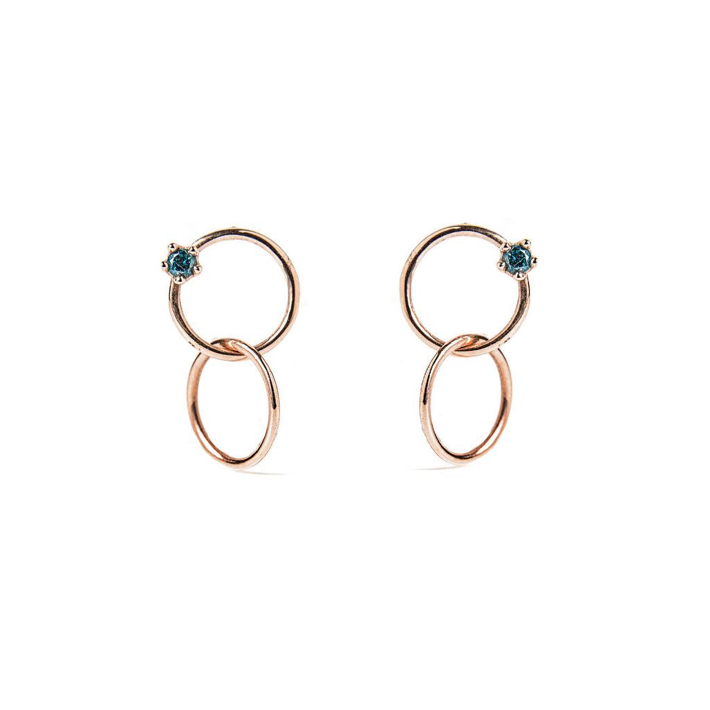 14k rose gold blue diamond Double ring stud earrings - LODAGOLD