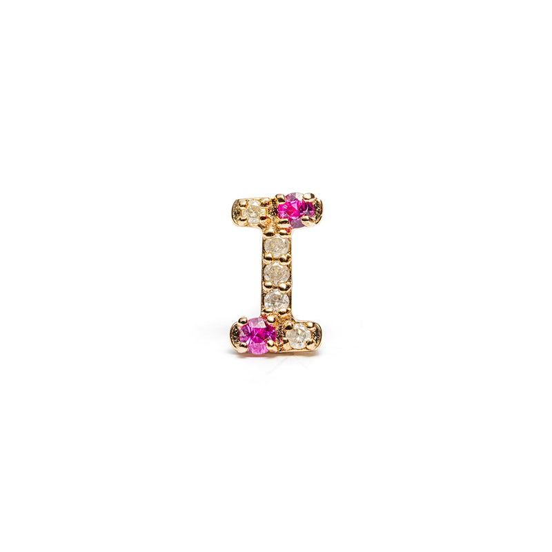 "14K gold Pink sapphire&grey dia ""I"" single earring - LODAGOLD"