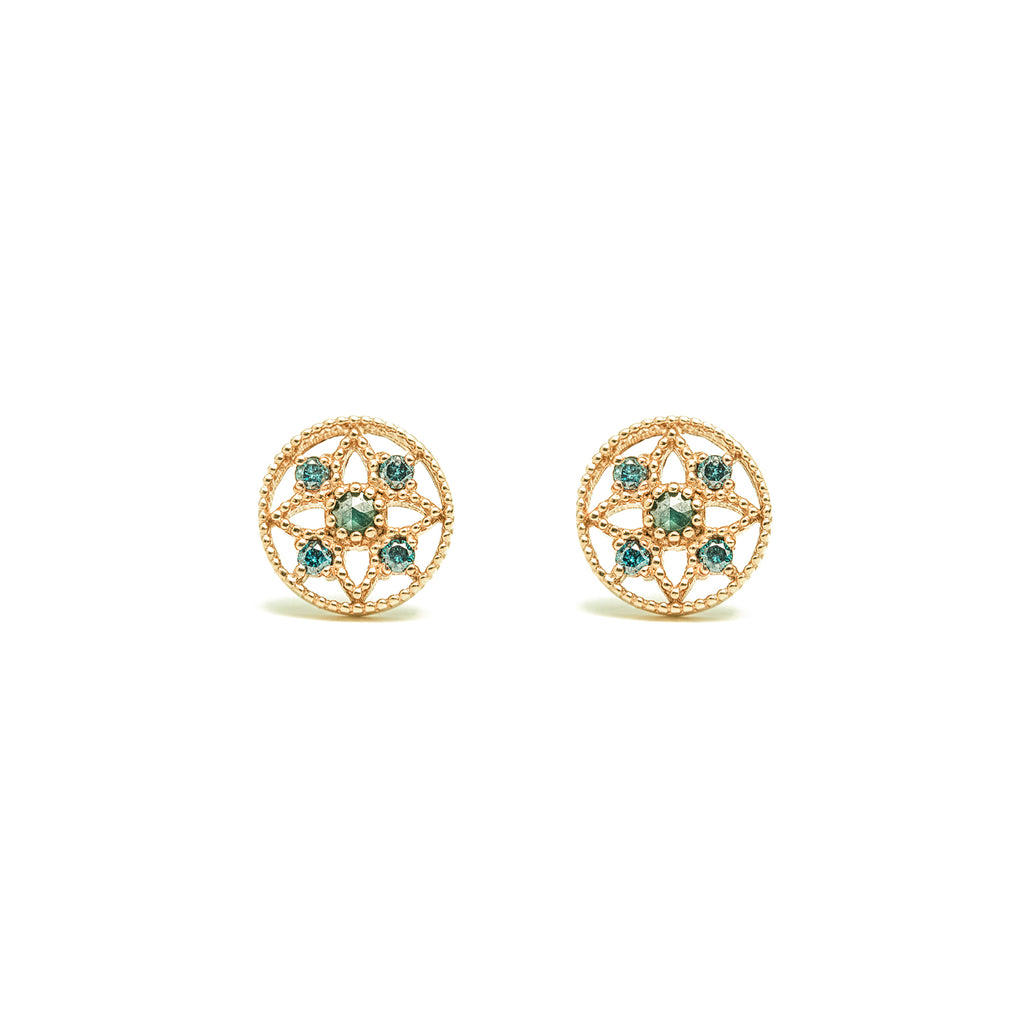 14k gold blue diamond Earrings - LODAGOLD