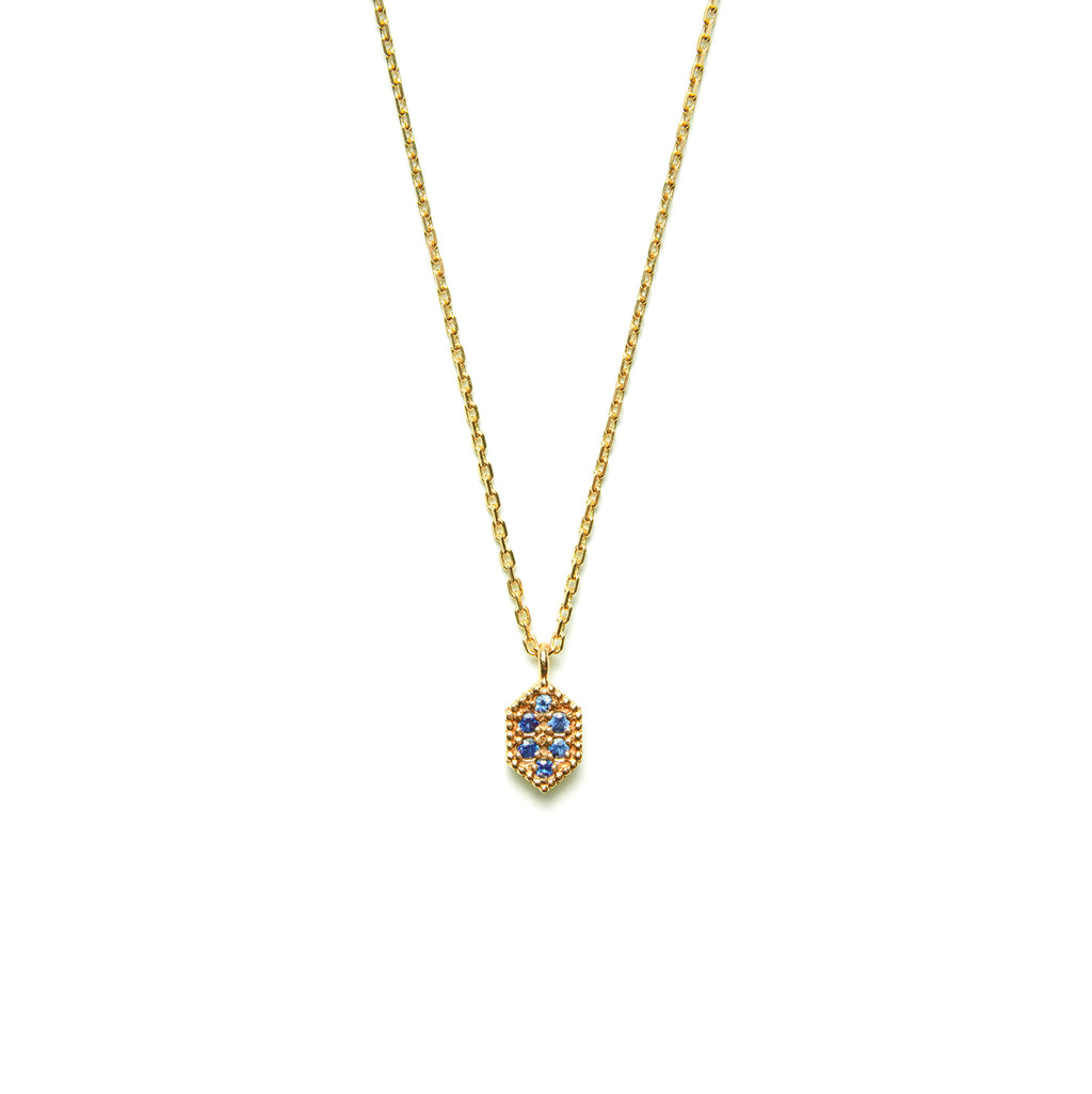 14k gold blue sapphire hexagon necklace - LODAGOLD