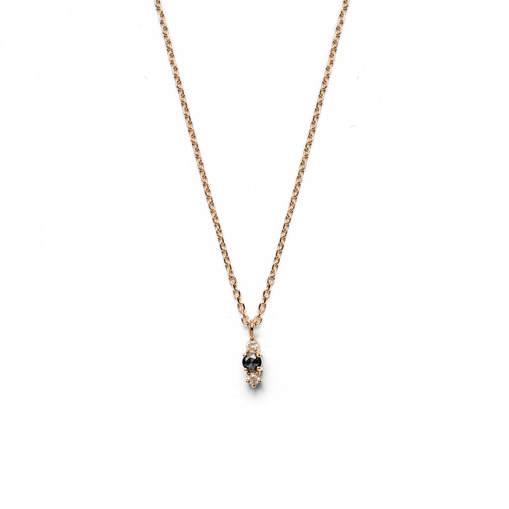 14k gold black&grey diamond Necklace - LODAGOLD