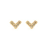 14k gold cognac Diamond Stud Heart Earrings - LODAGOLD