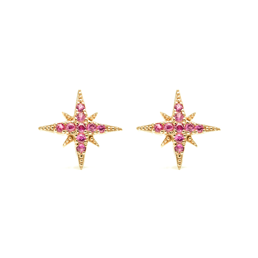 14k gold rubies starburst stud earrings - LODAGOLD