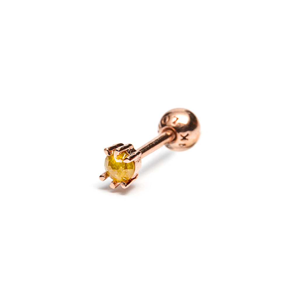 14k gold yellow diamond piercing - LODAGOLD