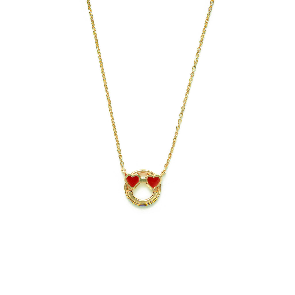 14k gold Smiley Face red Heart Eyes Necklace - LODAGOLD