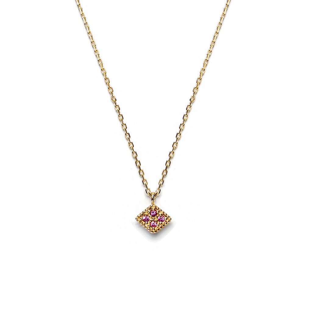 14k gold pink sapphire rhombus necklace - LODAGOLD
