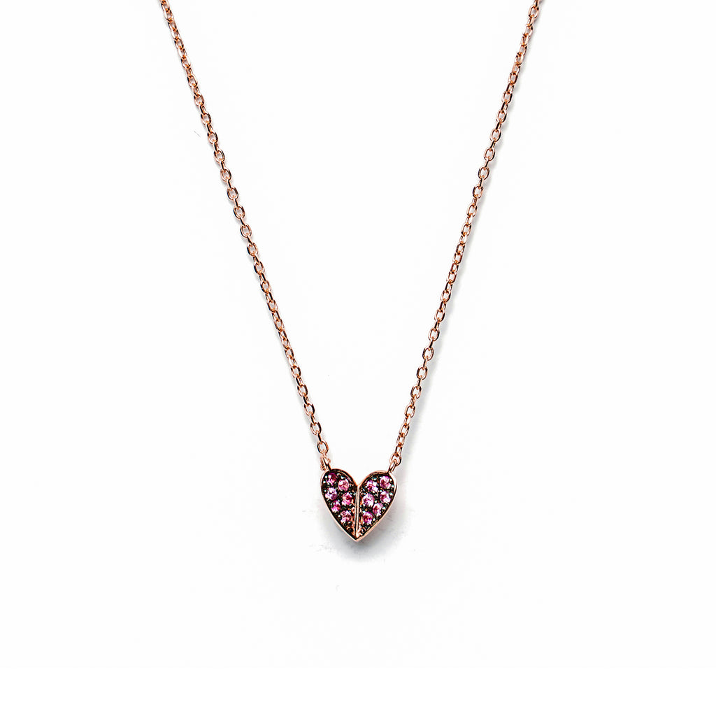14k gold heart pink Sapphire Necklace - LODAGOLD