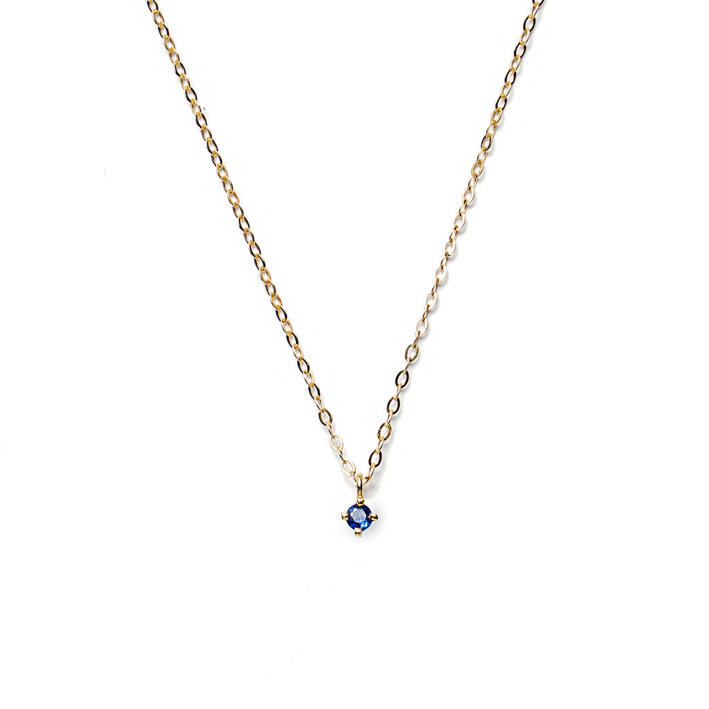 14k gold blue sapphire necklace - LODAGOLD