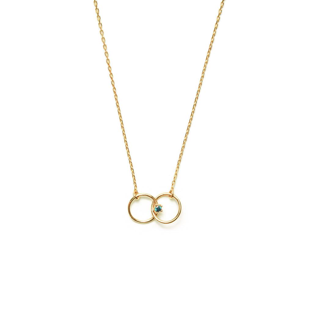14k gold blue dia Double ring Necklace - LODAGOLD