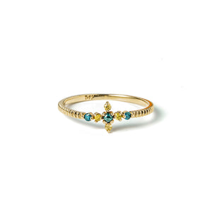 14k gold blue&yellow diamond cross ring - LODAGOLD