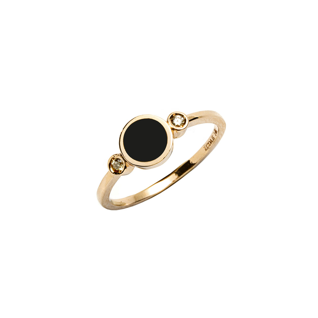 14k gold diamond&onyx inlay ring - LODAGOLD