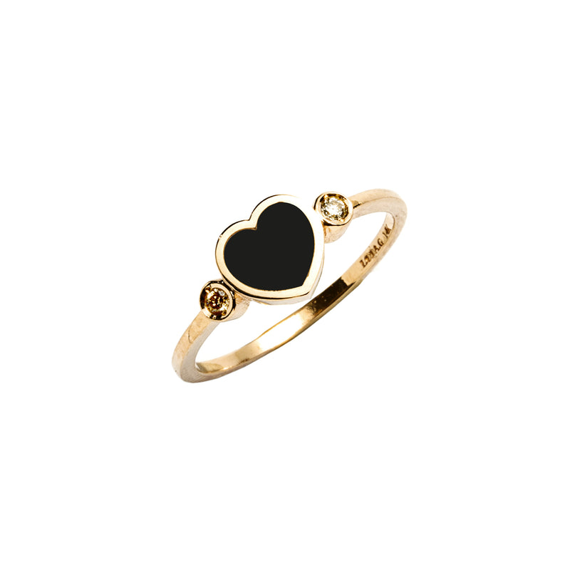 14k gold diamond&onyx heart ring - LODAGOLD