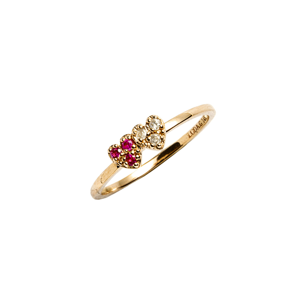 14k gold Sapphire&diamond double heart ring - LODAGOLD