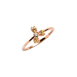 14k gold lemon&grey diamond heart ring - LODAGOLD