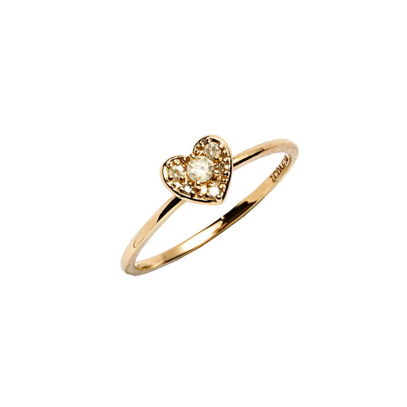 14k gold grey diamond heart ring - LODAGOLD