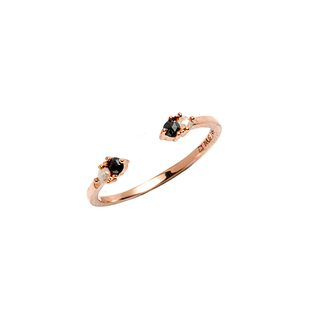 14k gold black&grey diamond cuff ring - LODAGOLD