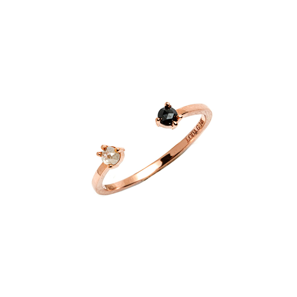 14k gold black&grey diamond ring - LODAGOLD