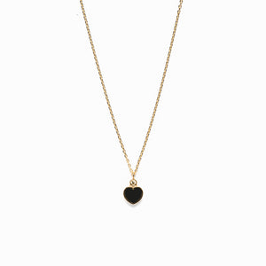 14k gold diamond&onyx heart necklace - LODAGOLD