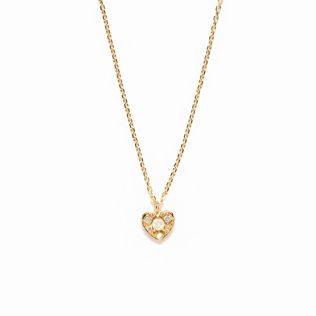 14k gold grey diamond heart Necklace - LODAGOLD