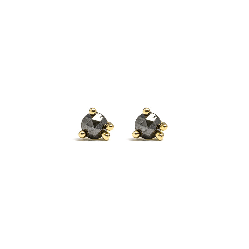 14k gold black diamond stud earrings - LODAGOLD