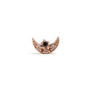 14k gold black&grey diamond moon piercing - LODAGOLD