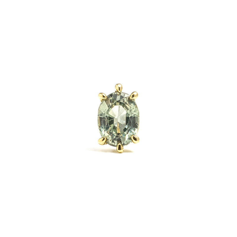 14k gold oval green sapphire single earring - LODAGOLD