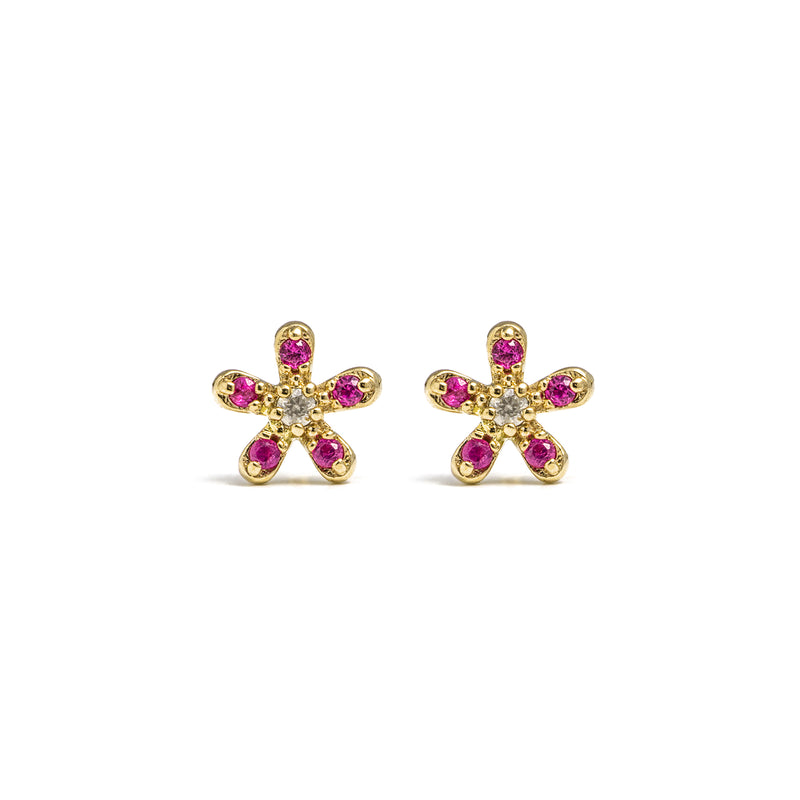 14k gold flower earrings - LODAGOLD
