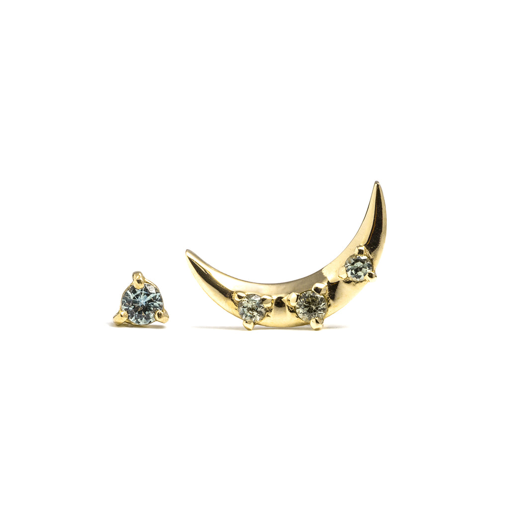 14k gold green sapphire moon earrings - LODAGOLD