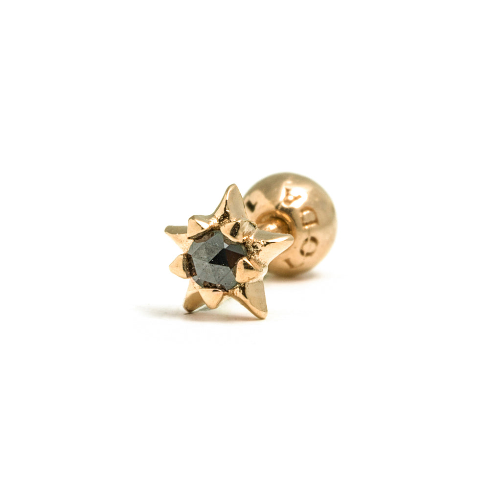 14k gold black diamond star piercing - LODAGOLD
