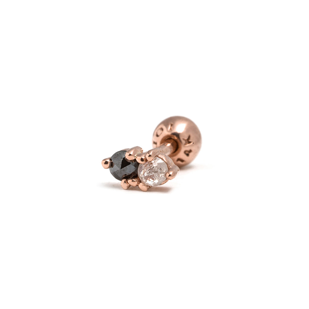 14k gold black&grey diamond piercing - LODAGOLD