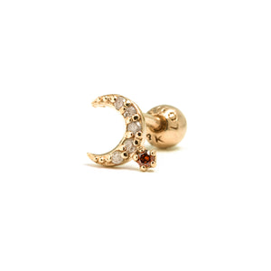 14k gold grey&orange diamond moon piercing - LODAGOLD