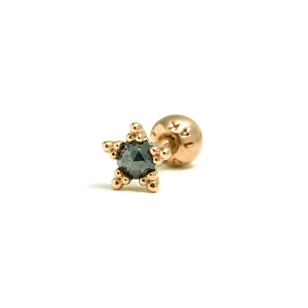 14k gold blue diamond star piercing - LODAGOLD