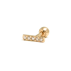 14k gold grey diamond bar piercing - LODAGOLD