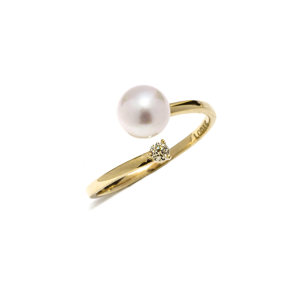 14k gold diamond& akoya pearl ring - LODAGOLD