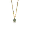 14k gold pear cut green sapphire Necklace - LODAGOLD