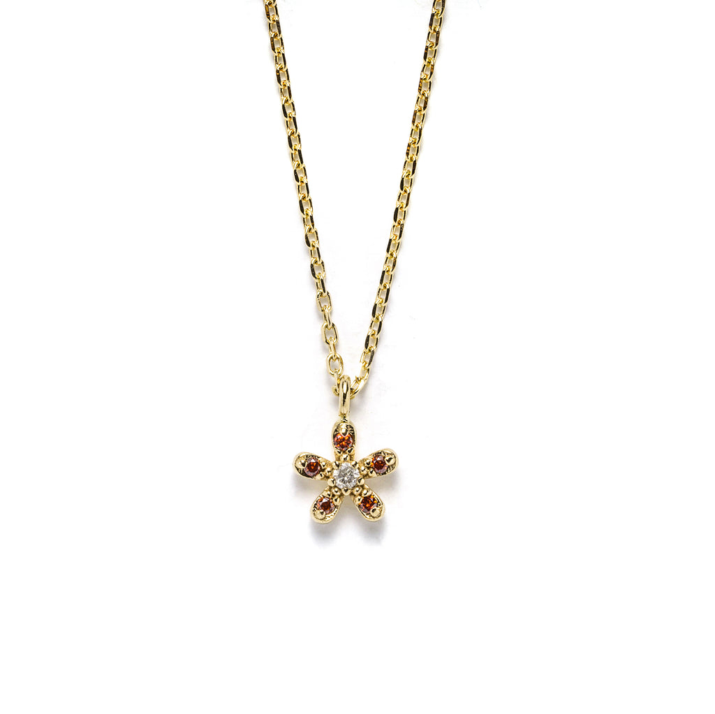 14k gold grey&orange diamond flower Necklace - LODAGOLD