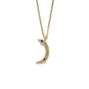 14k gold grey&blue diamond moon necklace - LODAGOLD