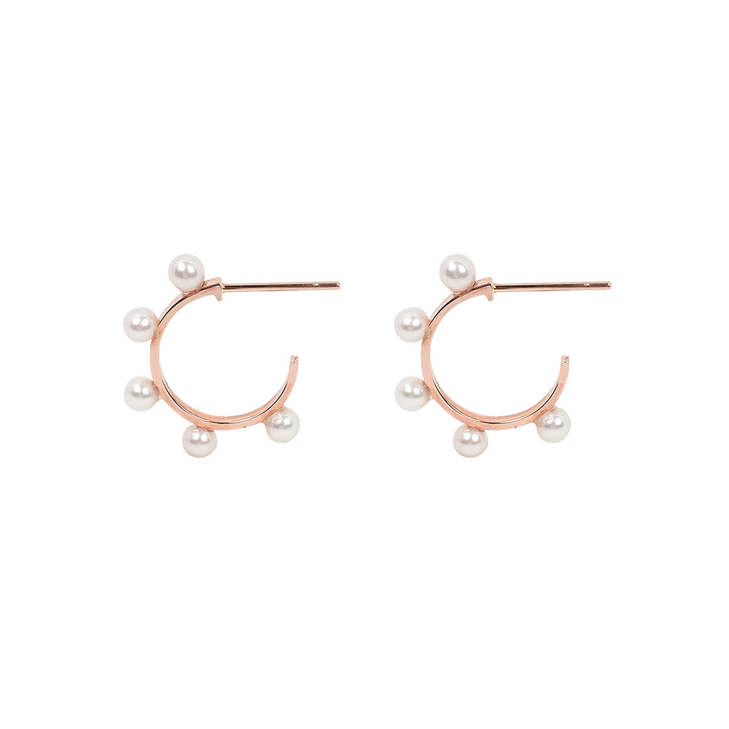 14k rose gold w/pearls hoop earrings - LODAGOLD